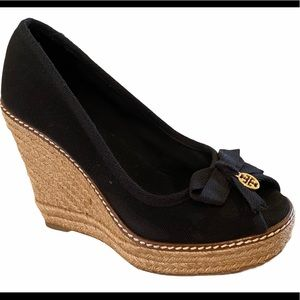Tory Burch Jackie Espadrille Peep-toe Wedge Black